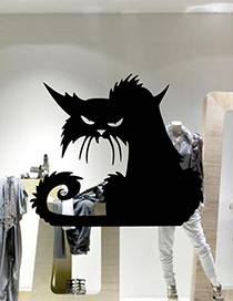Fashion Multicolor Kst-60 Halloween Cat Wall Sticker