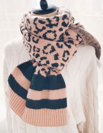 Fashion Leopard Pink Wool Knit Scarf Shawl Dual Purpose