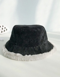 Fashion Corduroy Black Imitation Rabbit Fur Stitching Flat Top Children's Big Pot Cap