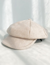 Fashion Milled Houndstooth Beige Plaid Beret