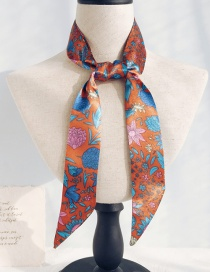 Fashion Blue Floral Orange Long Narrow Scarf