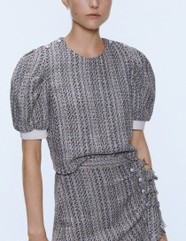 Fashion Gray Pearl Button Tweed Top