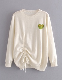 Fashion Creamy-white Love Drawstring Pullover