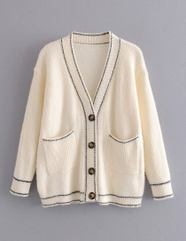 Fashion Beige Buttoned Cardigan