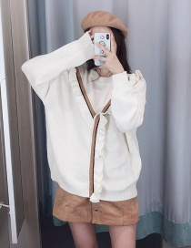 Fashion Beige Ruffled Pullover
