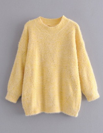 Fashion Yellow Mohair Knit Pullover