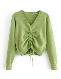 Fashion Green V-neck Drawstring Pullover