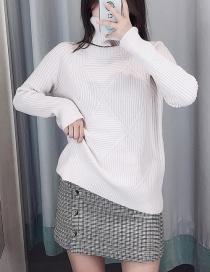 Fashion Creamy-white High Collar Diamond Pullover