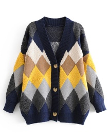 Fashion Navy Diamond Lattice Button-down Cardigan