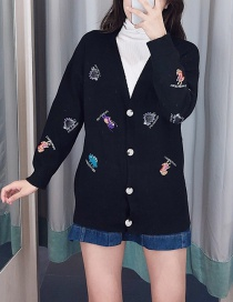 Fashion Black Cartoon Embroidered Button-down Cardigan
