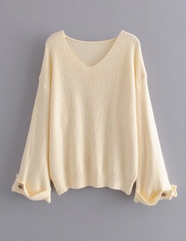 Fashion Beige Cuff Button Pullover