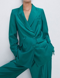 Fashion Lake Green Buttoned Suit