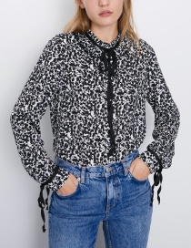 Fashion Black Lace-up Pullover Shirt