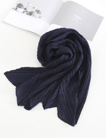 Fashion Dark Blue Pure Color Crumpled Silk Scarf
