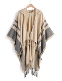 Beige Contrast Stripes Imitation Cashmere Tassel Hooded Cloak