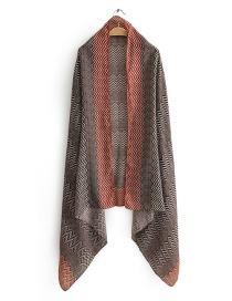 Red Wave Pattern Contrast Printed Scarf Shawl
