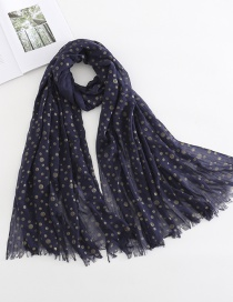 Navy Crumpled Cotton And Linen Scarf Shawl