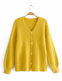 Yellow Twist Knit Cardigan