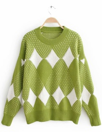 Green Rhombus Pattern Decorated Sweater