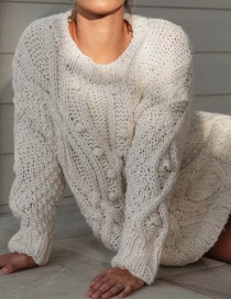 Khaki Ball Twist Knit Pullover