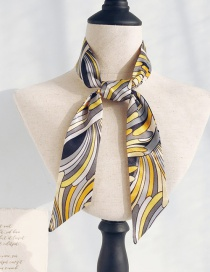 Fashion Fine Wave Black Yellow Long Narrow Scarf