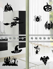 Fashion Multicolor Kst-77 Halloween Witch Bat Wall Stickers