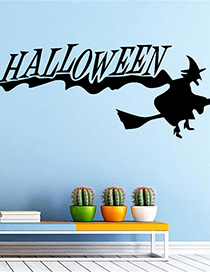 Fashion Multicolor Kst-37 Halloween Halloween Witch Broom Wall Sticker