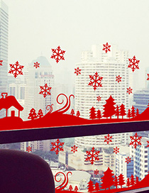 Fashion Red Ss-32 Snowflake Christmas Wall Sticker Removable
