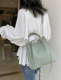 Fashion Matcha Green Pleated Shoulder Bag