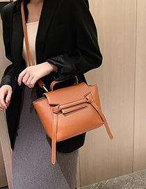 Fashion Brown Stitching Hand Shoulder Messenger Bag