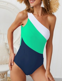White + Green + Dark Blue Colorblock One-shoulder Bikini