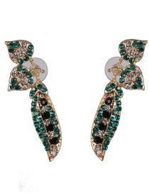 Fashion Green Zircon Earrings With Leaves