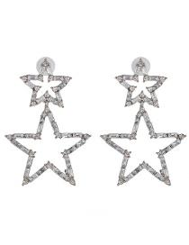 Fashion White Full Diamond Five-pointed Star Stud