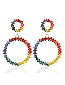 Fashion Color Circle Diamond-studded Earrings