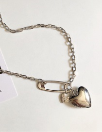 Fashion Silver Love Thick Chain Heart Necklace