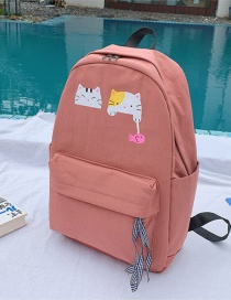 Fashion Dark Pink Cartoon Contrast Cat Backpack