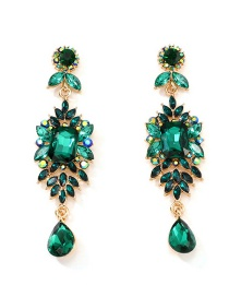 Fashion Green Full Diamond Earrings
