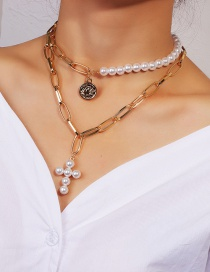 Fashion Gold Pearl Alloy Double Chain Cross Portrait Necklace