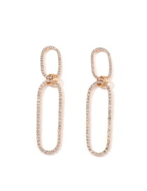 Fashion Gold Diagonal And Diamond Earrings
