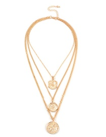 Fashion Gold Metal Portrait Multilayer Necklace