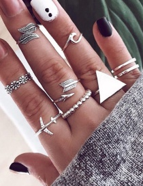 Fashion Silver Alloy Airplane Geometric Flower Leaf Ring
