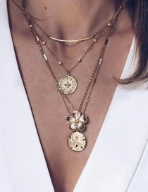 Fashion Gold Alloy Embossed Coin Flower Multi-layer Necklace