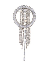 Fashion Silver Studded Tassel Brooch