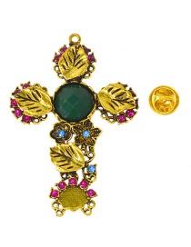 Fashion Gold Cross-studded Emerald Brooch