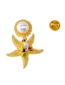 Fashion Gold Starfish Pearl Bird Brooch