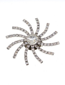 Fashion Silver Diamond Sun Flower Brooch