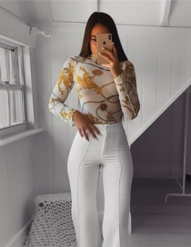 Fashion White Printed See-through Mesh Jumpsuit