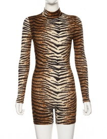 Fashion Tiger Pattern Animal Print Round Neck Long Jumpsuit