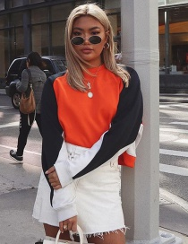 Fashion Orange Round Neck Contrast Stitching Sweater
