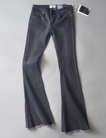 Fashion Light Gray Washed Stretch Flare Jeans